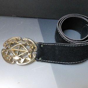Accessories - black suede belt gold tone buckle hip wear